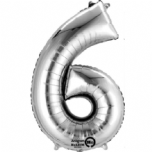 "Silver Number 6 Mini-Foil Balloon (16"" Air) 1pc"